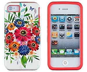 Sunshine Case 2in1 Hybrid High Impact Hard Colorful Floral Bouquet Pattern + Silicone Case Cover For Apple iPhone 4S & iPhone 4 + Sunshine Case Screen Cleaner
