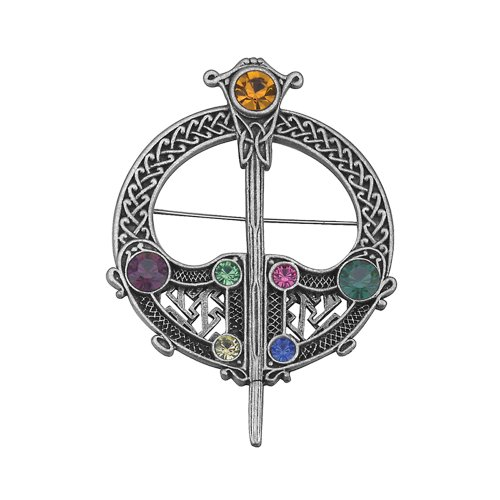 Celtic Tara Brooch Large Rhodium Plated Irish Made Pin