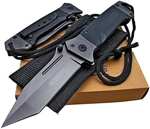 Tactical Spring Assisted Opening Knife: Black G-10 Handles - Razor Sharp Tanto Blade - Every Day Carry - Includes Landyard and Heavy Duty Cordura Sheath. Bundle - 2 items: 1 knife and 1 sheath (Pocket Action Knife)