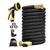 75 ft Lightweight Garden Water Hose,Expandable Garden Hose with 3/4 inch Solid Brass Fittings, 9 Function Spray Nozzle Expanding Garden Hoses,Durable Outdoor Gardening Flexible Hose for Yard