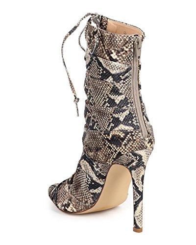 Liliana Dc22 Kvinner Python Titte Toe Enkelt Såle Stilett Gladiator Tøffel - Beige Python