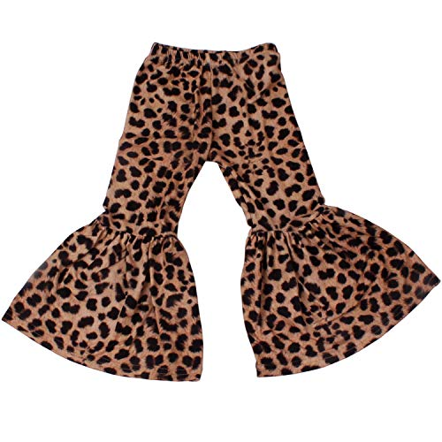 QLIyang Girls Ruffle Leggings Leopard Print Bell Bottoms Flare Pants 4T Black (Toddler Leopard Leggings)