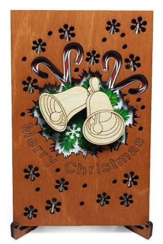(Merry Christmas Card with Stand, Greeting Wood Cards with Christmas Design, best Holiday Real Wooden Gift Handmade for Season's Greetings. )