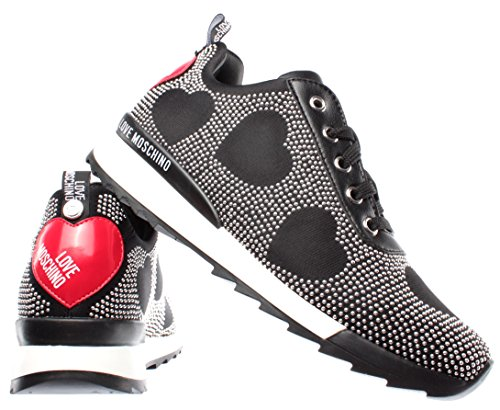 D Love Cuero Espárragos Running Moschino 25 Jersey Nero Zapatos Mujer Sneakers w4qI4rP