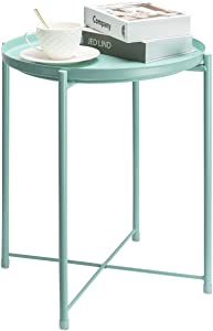 danpinera End Table, Side Table Metal Waterproof Small Coffee Table Sofa Side Table with Round Removable Tray for Living Room Bedroom Balcony and Office (Mint Blue)