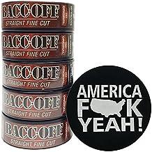 BaccOff - Tobacco Free - Non Tobacco Herbal Chew or Snuff - 5 Cans - Includes DC Skin Can Cover (Straight Fine Cut) (America Skin)
