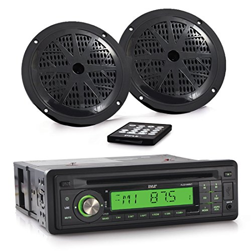 Pyle Marine Stereo Receiver & Speaker Kit [Single DIN Radio] with CD Player | MP3/USB/SD Readers | (2) 5.25'' Waterproof Speakers | Radio Splash Shield | Remote Control (PLCD14MRKT)
