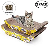 2 pack cat scratcher cardboard with catnip, recycle corrugated scratching pad reversible