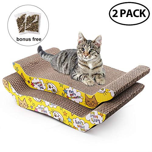 2 Pack Cat Scratcher Cardboard with Catnip, Recycle Corrugated Scratching Pad Reversible Replacement Scratcher Pad Lounge Sofa - Cat Scratcher Wave