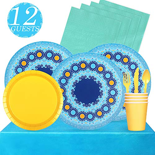 (Partybus Party Supplies Set - Serves 12, 93 Ct, Blue Theme Party Disposable Tableware Kit for Boys Girls Kids Birthday Decorations, Includes Dinner Plates, Dessert Plates, Napkins, Cups, Table Cloth, Silverware)
