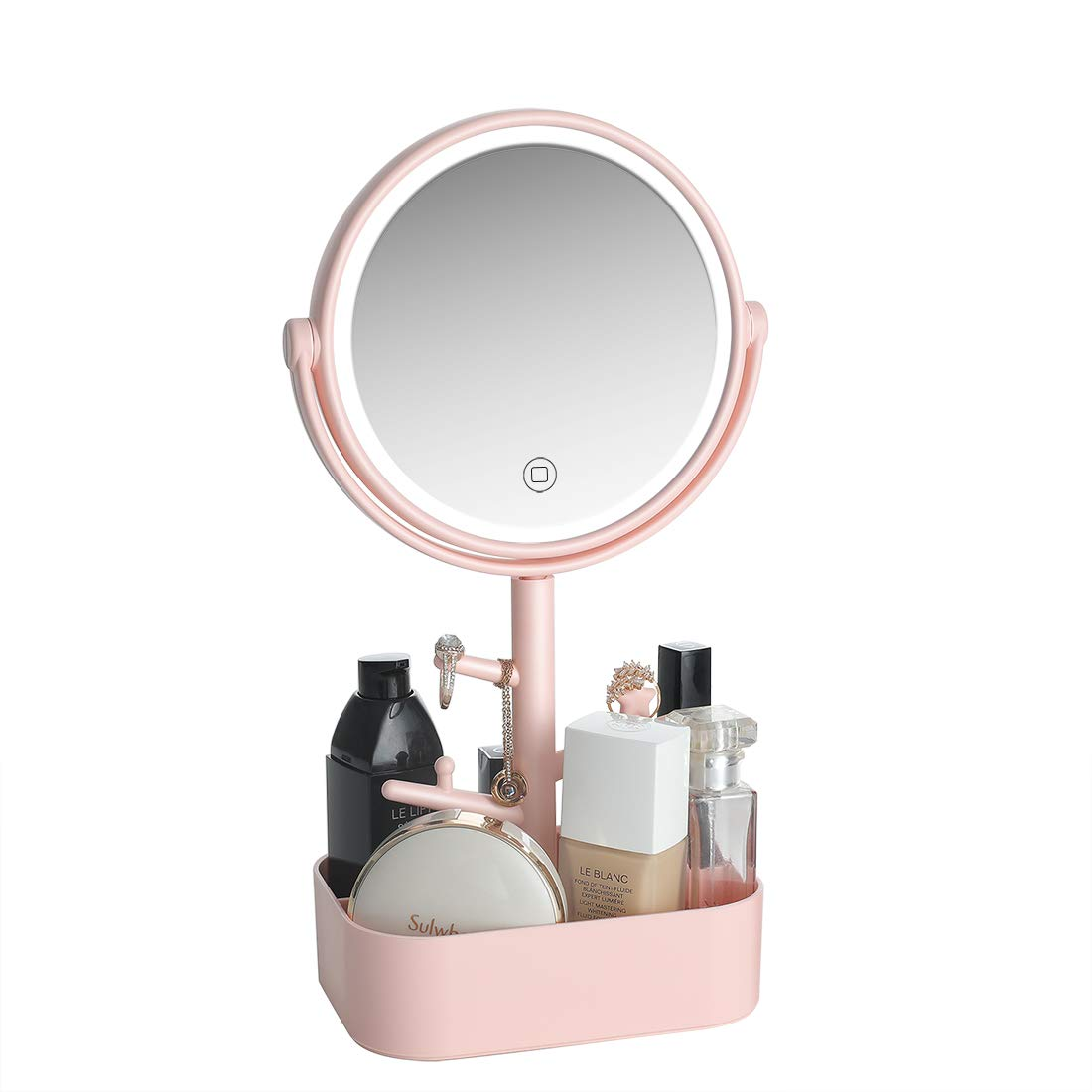LED lighted Makeup mirror rechargeable, USB Battery two power supply modes. Vanity Mirror with Natural white light, Touch screen switch, dimmable light Cosmetic mirror with jewelry holder. Pink