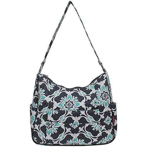 - Ngil Quilted Cotton Hobo Shoulder Bag (Quatro Vine Grey)