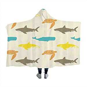 dsdsgog Hooded Blanket Sea Animals Decor,Pattern with Whale,Shark and Turtle Aquarium Decorative Doodle Style for Kids Adults Boys Girls Mens Womens 50 x 40 Inch
