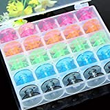 Katoot@ 25 Grid Clear Storage Case Box With 25Pcs Empty Colorful Sewing Box Bobbins Spool for Brother Janome Singer Elna Sewing Machine