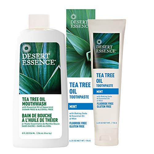 Mouthwash Peppermint Baking Soda - Desert Essence Tea Tree Oil Mouthwash 8 fl oz and Desert Essence Mint Tea Tree Oil Toothpaste 6.25 oz - Promotes Healthy Teeth and Gums - Tastes Great! - NO Gluten, Floride, SLS or Abrasives
