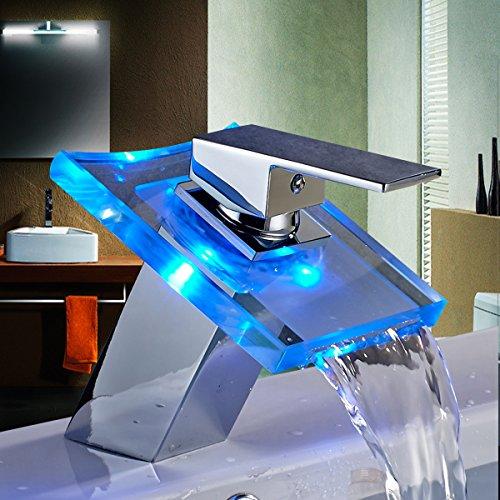 Auralum® Wasserhahn LED Glas Licht Wasserfall Waschbecken Mit Farbwechsel Küchenarmatur für Küche Bad Duscharmatur