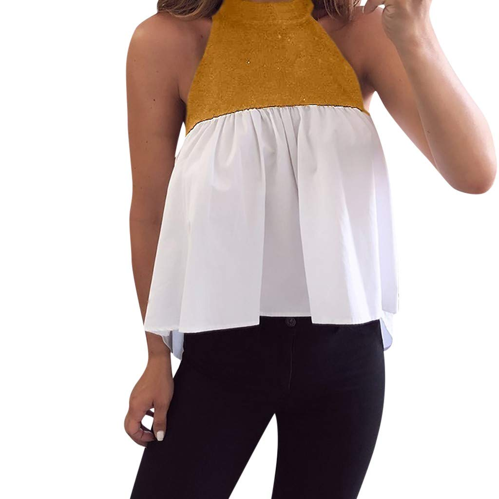 Makulas Women's Summer Halter Tops,Casual Patchwork Shirts Blouse for Women Sleeveless Looes Tops Blouse Yellow