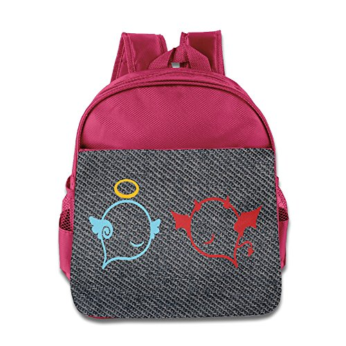 Cartoon Angel Devil Smile Wing Pink One Size Children School Bags