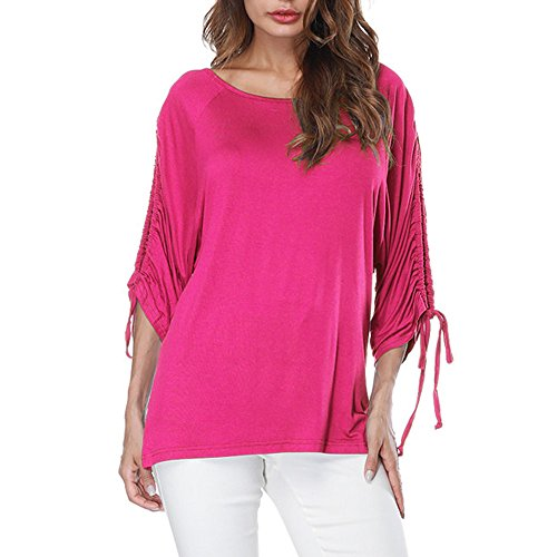 Mimfor Women O-Neck Bandage Half Sleeve Pure Color Tops Loose T-Shirt Blouse (L, Hot Pink) ()