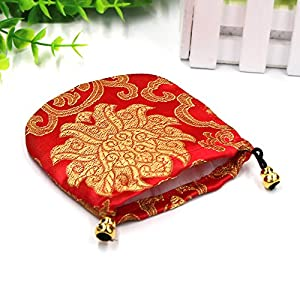 26 pcs Silk Brocade Jewelry Pouches,Chinese Brocade Embroidered Coin Purse