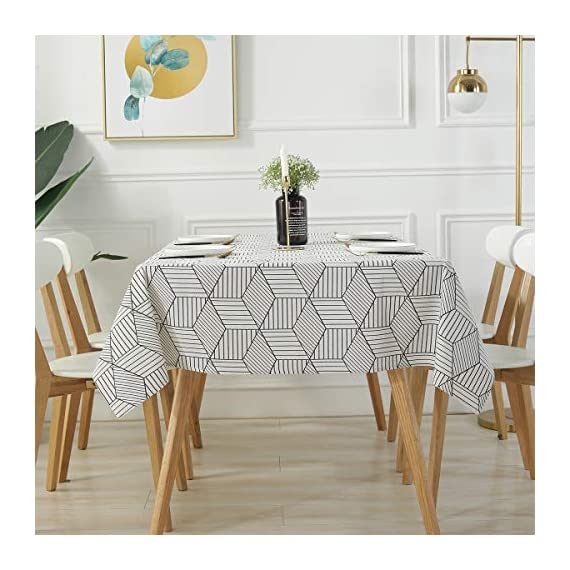 "SESTYLE Rectangle Tablecloth Geometric Style Cotton Linen Table Cloth Dust-Proof Table Cover for Kitchen Dinning Tabletop Decoration (Rectangle/Oblong, 52"" x 90"" (6-8 Seats), White) - Premium Quality Tablecloth: Manufactured from super, hard wearing cotton linen fabric, won't easily fray after long term use; an inherent quality of natural, handcrafted linen pieces, which only add to their beauty. Versatile Table Protector: This rectangular tablecloth is reminiscent of casual dining and perfect for everyday meals with the family, parties, birthdays or special holiday gatherings, indoor and outdoor use, weddings and more. Decoration Your Home: Add flowers, candles or a seasonal centerpiece to tables cape. and keep dust off and protect your table,tablecloth and furniture tops against scratches, scuffs, stains while still show the beauty of your table and furniture tops. - tablecloths, kitchen-dining-room-table-linens, kitchen-dining-room - 51kstLC848L. SS570  -"