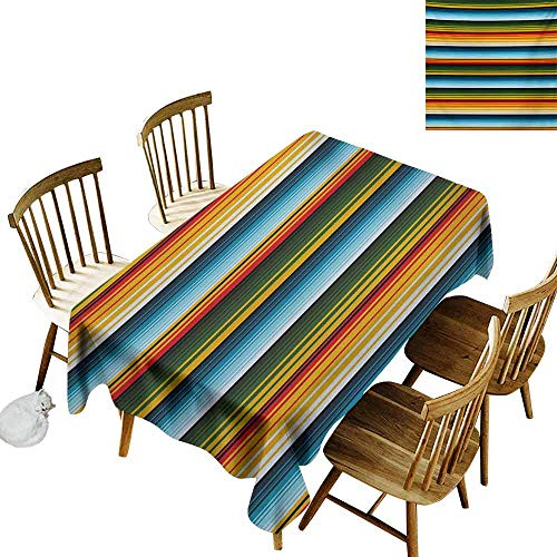 (DUCKIL Washable Table Cloth Striped Mexican Inspirations in Hand Made Horizontal Lines with Woven Ornamental Style Table Decoration W60 xL84)