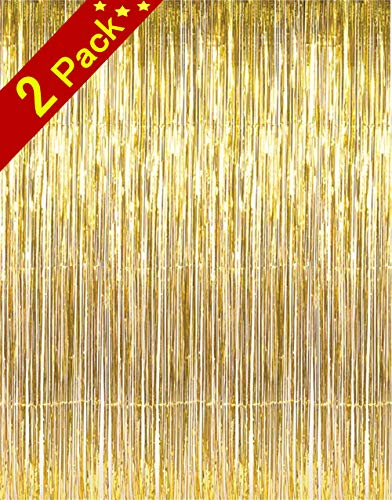 Cherish tea Shiny Gold Metallic Tinsel Foil Fringe Curtains for Party Photo Booth Backdrop Wedding Decor (36 inch wide x 96 inch high),2-Pack Gold]()