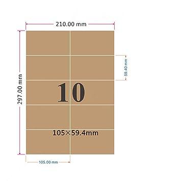 Label Planet/® Brown gerippte Kraftpapier Etiketten F/ür Tintenstrahl- und Laserdrucker 63.5 x 38.1mm 210 Etiketten 21 Pro Blatt 10 Bl/ätter LP21//63 BRK.