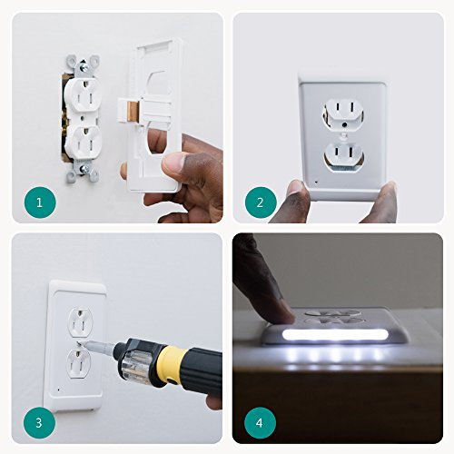 Duplex, White Aodigesa Outlet Wall Plate with LED Night Lights ...
