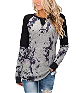 ULTRANICE Women's Color Block Tops Long Sleeve Casual T Shirts Blouses Round Neck Tunics