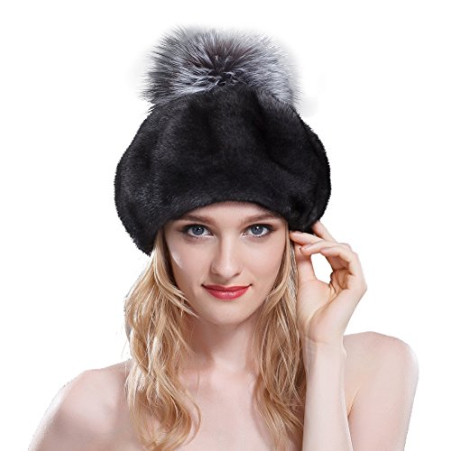 URSFUR Women's Velvet Mink Full Fur Beret Hats with Fox Pom Poms (One Size, SAGA Velvet Black)