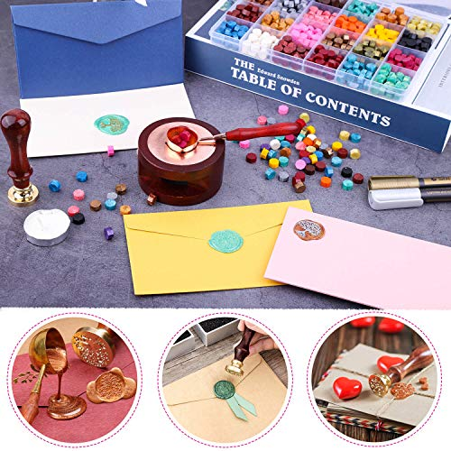 Sealing Wax, Anezus 645pcs Wax Letter Seal Kit with Wax Seal Beads, Sealing Wax Warmer, Vintage Envelopes, Wax Stamp and Metallic Pen for Wax Seal, Sealing Envelopes, Crafts and Decoration