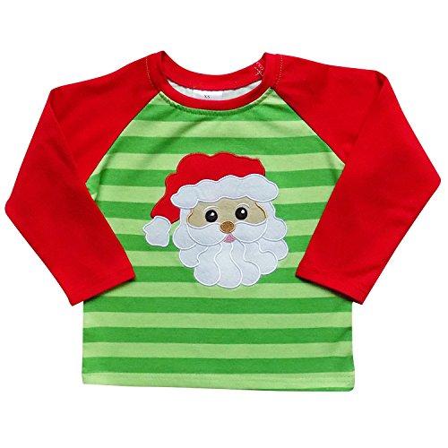 So Sydney New Toddler & Girl Fall & Winter Holiday Sparkle Ruffle Raglan T-Shirt (M (4T), Santa Green Stripe)