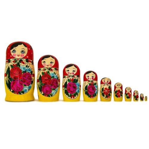 BestPysanky Set of 10 Traditional Semenov Russian Nesting Dolls Matryoshka 10 Inches by BestPysanky (Image #1)