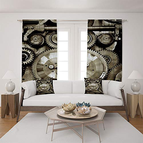 2 Panel Set Satin Window Drapes Living Room Curtains and 2 Pillowcases,Mechanism Close Up Gears View Grunge Antique Cogs,The perfect combination of curtains and pillows makes your living room (Pittsburgh Steelers Window Drape)