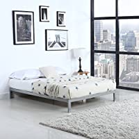Modern 8 Low Metal Platform Bed Frame / Mattress Foundation (Queen, Silver)