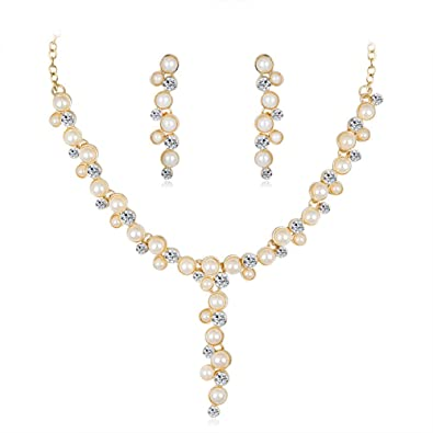7bc0a87af5 Buy Leoie Women Simple Imitation Pearl Necklace Elegant Jewelry Set Party  Gift 2pcs/Set Online at Low Prices in India | Amazon Jewellery Store -  Amazon.in