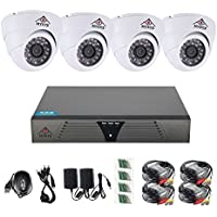 Security Camera System 4 Channel Kit. 720P AHD Home Video Surveillance Equipment DVR Recorder,Dome Camera day and night IR vision