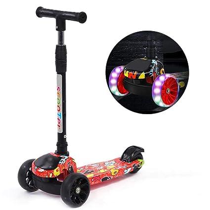 Dedeka Mini Patinete Plegable para niños de 3 Ruedas para niños de 2 a 12 años de Edad, Luces LED para encender, patinetas Scooter Intermitentes