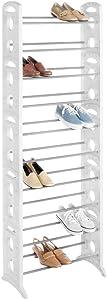 Whitmor Floor Shoe Tower 30 Pair White