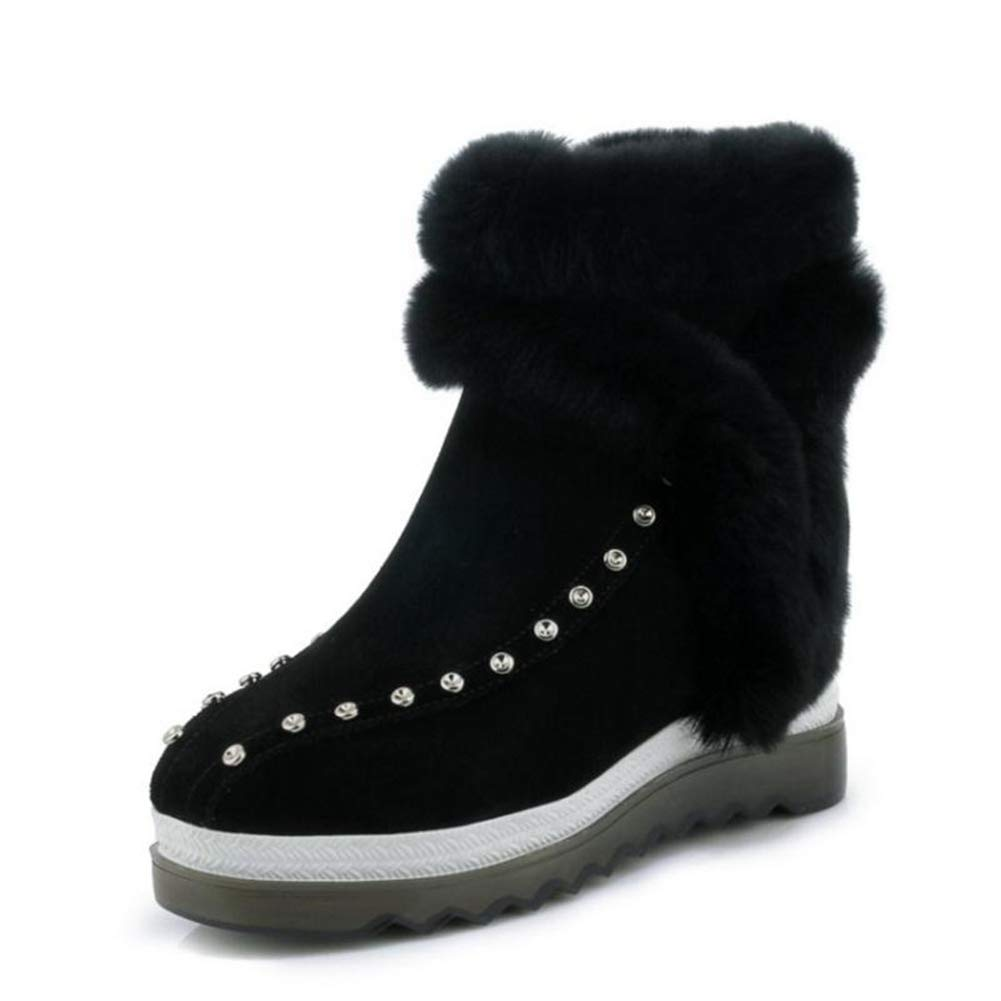 Black Platform 3cm SENERY Women Winter Ankle Boots Fashion Warm Fur Platform Round Toe Office Boots Height Increasing Booties