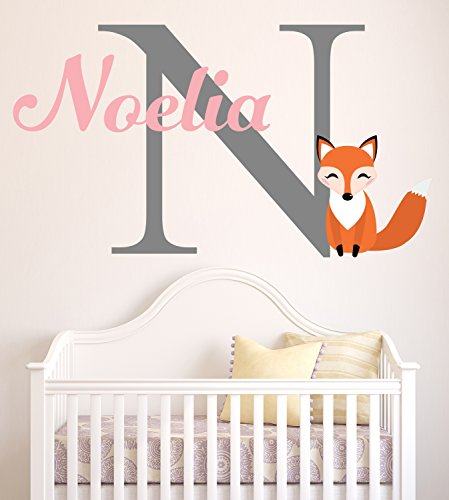 Lovely Decals World LLC Fox Wall Decal Custom Girl Name Nursery Art Decor Sticker Vinyl LD49 (28
