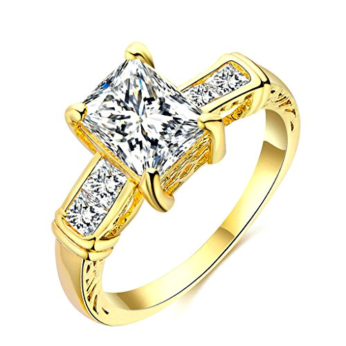 Crystal Flush Mount Gold Plated (Daesar Gold Plated Rings Womens Wedding Ring Rectangle Round ChannelCZ Ring Gold Rings Size:6)
