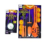 Halloween Pumpkin Craving Bundle, 1 Colossal Carving Kit Booklet With Tools And 1 Pumpkin Strobe Lite.