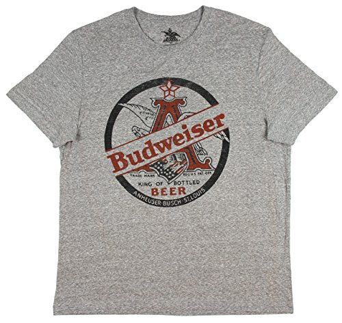 Budweiser King Of Beers Heather Grey Tee Shirt X-Large