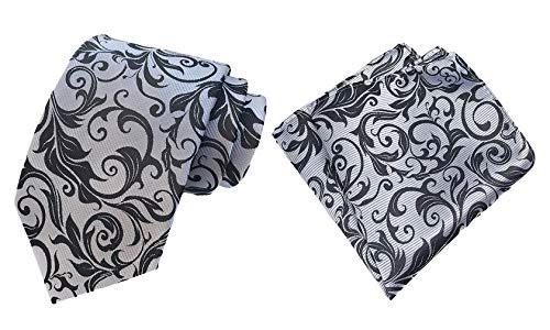 MOHSLEE Men's White Black Floral Silk Tie Necktie Handkerchief Pocket Square Set