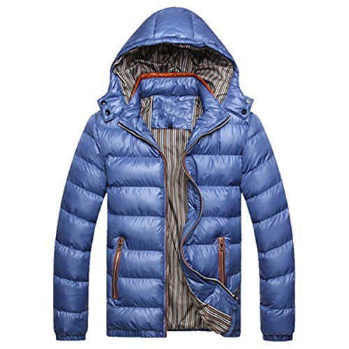 Solid Hooded Men's Winter Jackets Casual Parkas Men Coats Thick Thermal Shiny Coats,Orange,XXL