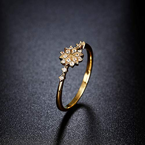 Uscharm Golden Rings for Girls Fashion Ring Snowflake Engagement Gift Set With Diamond Ring (GD6) by Uscharm (Image #3)