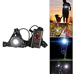 Running Night Light LED Chest Lamp,SGODDE Chest Body Torch, USB Rechargeable LED Flashlight with Warning Triangle Taillight,Adjustable chest strap for Night Runners,Joggers,Camping,Fishing