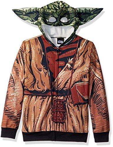 Star Wars Big Boys' Yoda Sublimated Fleece Zip Costume Hoodie, multi, Large-14/16